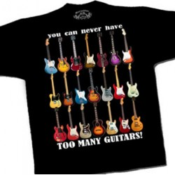 "Tee shirt ""Too many guitars"""